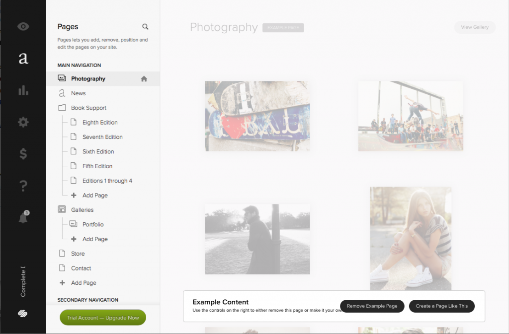 Squarespace's editing tools let you interact directly with a finished web layout –no coding is necessary.